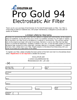 Evolution Air Pro Gold 94 Electrostatic Air Filter Warranty Form